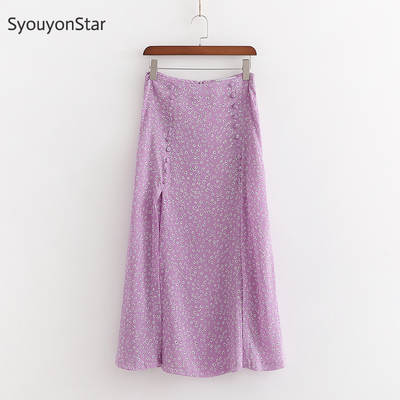 SyouyonStar Women Purple High Waist Skirts 2020 Spring Print Long Skirt Side Split Skirts