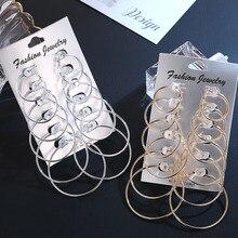 6 пар круглые/круглые большие серьги-кольца для женщин, серебряные серьги-кольца, набор золотых модных колец, женские украшения аксессуары