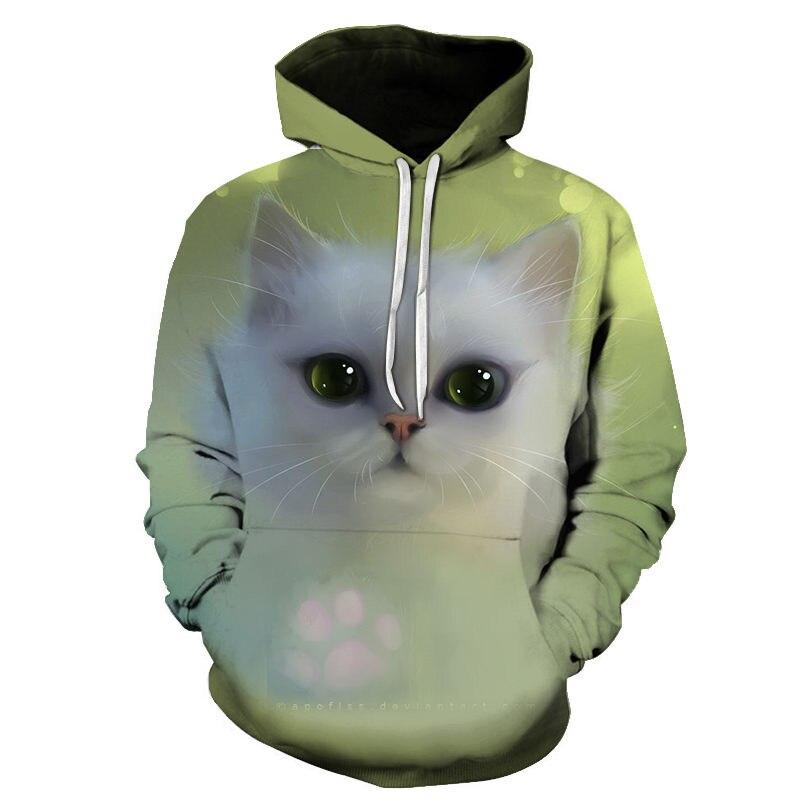 Women's Two Cat Sweatshirts Long Sleeve 3D Hoodies Sweatshirt Pullover Tops Blouse Pullover Hoodie Poleron mujer Confidante Tops 87