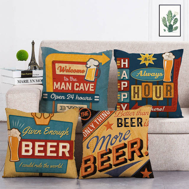 Beer Mancave Cushion Covers