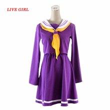 No game no life cosplay Shiro costume halloween women clothes carival dress wigs sailor suit Japanese school uniform