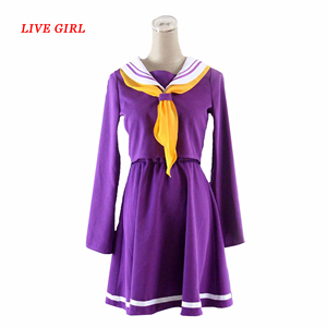 No game no life cosplay Shiro costume halloween women clothes carival dress wigs sailor suit Japanese school uniform(China)