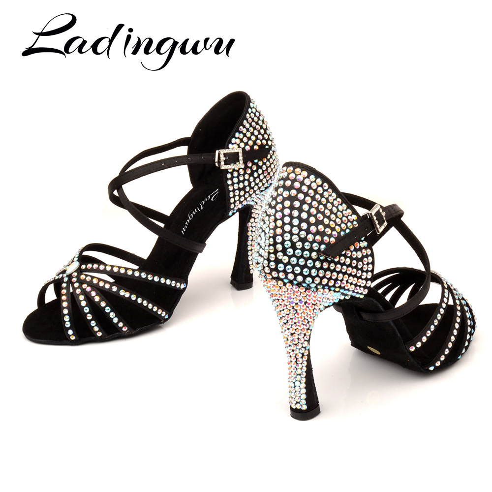 Ladingwu Customized Heel And Color Soft Woman Girls Soft Satin And Rhinestone Latin Salsa Ballroom Dance Shoes For Ladies
