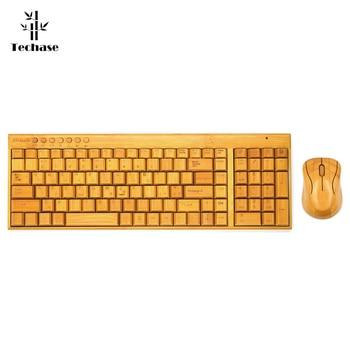 Techase Bamboo Design Ruassian Version Keyboard Teclado E Mouse Sem Fio Wooden Keyboard and Mouse Suit Russian Letters Klavye