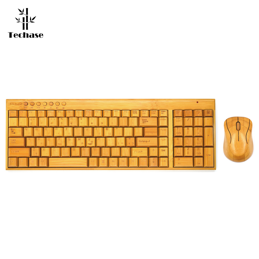 Techase Bamboo Design Ruassian Version Keyboard Teclado E Mouse Sem Fio Wooden Keyboard and Mouse Suit Russian Letters Klavye