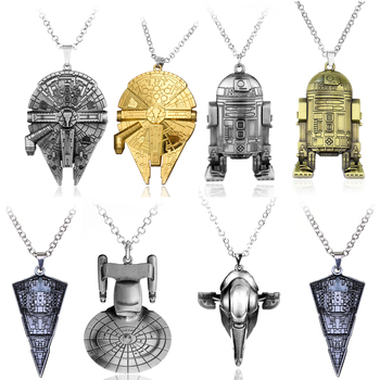 Movie Jewelry Necklace Millen Falcon Darth Vader Black Warrior Spaceship BB8 Yoda Metal Pendant Personality Gifts image