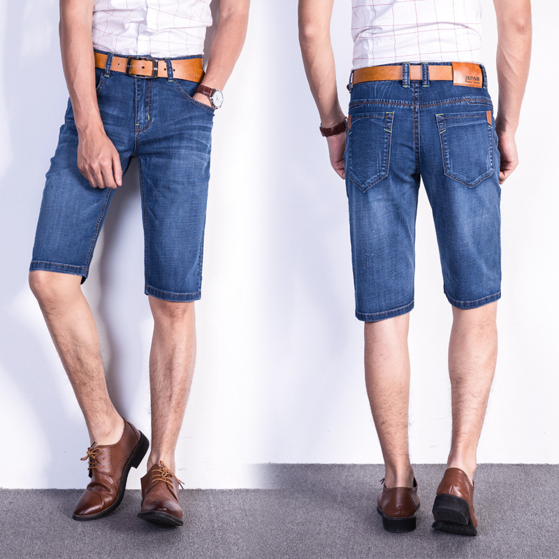 Elasticity Short Denim Shorts Men Summer Thin Section Straight Slim Middle-aged Casual In Pants Dad Plus-sized Pants