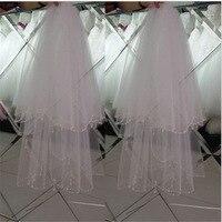 Mingli Tengda Bride Veil Beaded Edge Hair Comb Short Headwear Wedding Accessories Shoulder Length Bridal Veil Two Layers Velo
