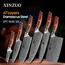 XINZUO 6 PCSมีดครัวทำอาหารชุดญี่ปุ่นดามัสกัสเหล็กมีดเชฟSlicing Santokuยูทิลิตี้ขนมปังParingมีด