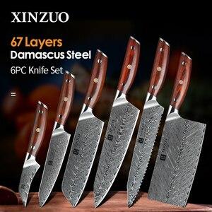 Image 1 - XINZUO Juego de cuchillos de cocina de acero damasco japonés, Santoku, 6 uds.