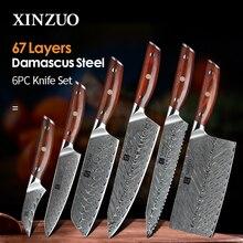 Xinzuo 6 pçs faca de cozinha conjuntos cozinha aço damasco japonês facas cozinha chef slicing santoku utilitário pão aparar faca