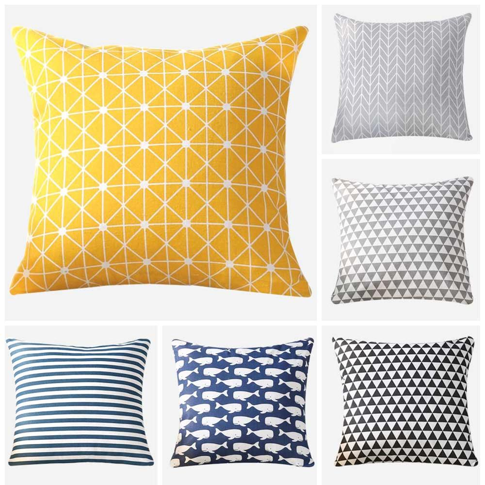 Meijuner Colorful Geometry pattern Modern Simple Cushion cover Geometric Printed pillowcase Linen cotton Pillow cover Sofa MJ025 in Cushion Cover from Home Garden
