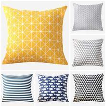 Meijuner Colorful Geometry pattern Modern Simple Cushion cover Geometric Printed pillowcase Linen cotton Pillow Sofa MJ025