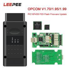 LEEPEE PIC18F458 FTDI puede autobús OBD OBD2 escáner herramientas de diagnóstico de coche para Opel Flash actualización de Firmware OPCOM V5