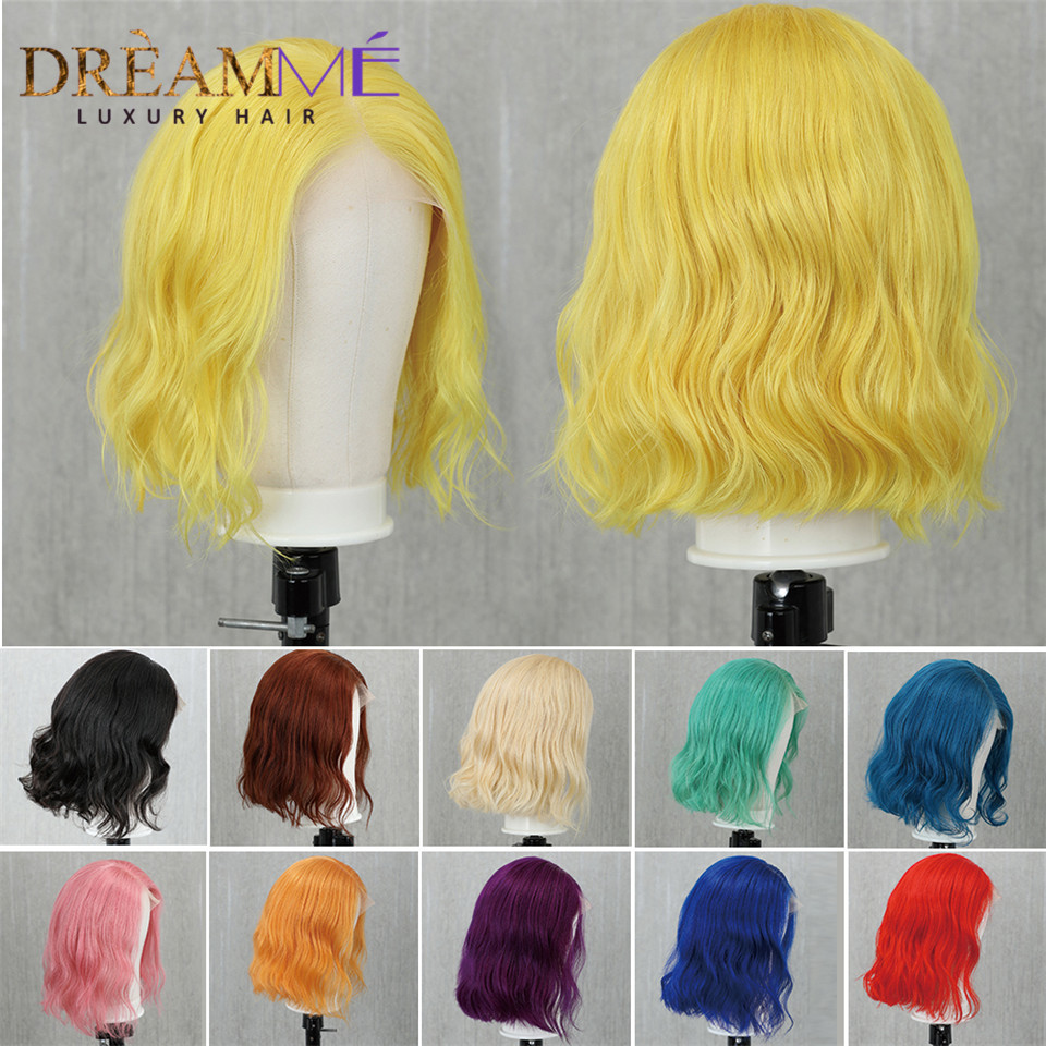 Colored Lace Front Human Hair Wigs Water Wave Short 13x4 Lace Front Bob Wig Pre Plucked Blonde Red Pink Green Remy Brazilian Wig