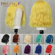 Kolorowe koronki przodu peruki z ludzkich włosów Water Wave krótki 13x4 koronki przodu Bob peruka Pre oskubane blond czerwony różowy zielony Remy włosy brazylijski peruka