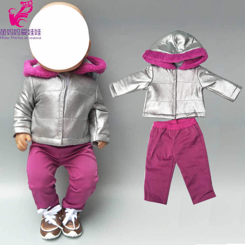 baby doll jacket silver color hooded coat 18 inch american doll clothes blue color sport suit