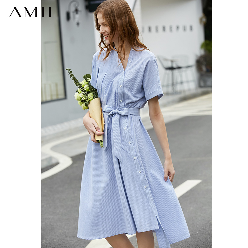 Amii Spring Summer Women Vintage Striped Dresses Female Causal Short Sleeve Irregular Belt V Neck Ladies Dress Vestidos 11920065