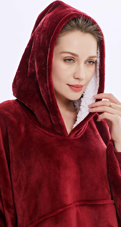 Couverture polaire d'hiver à manches pour enfants et adultes | Couverture polaire, sweat à capuche avec poches, couvertures chaudes et douces (lien livraison directe)