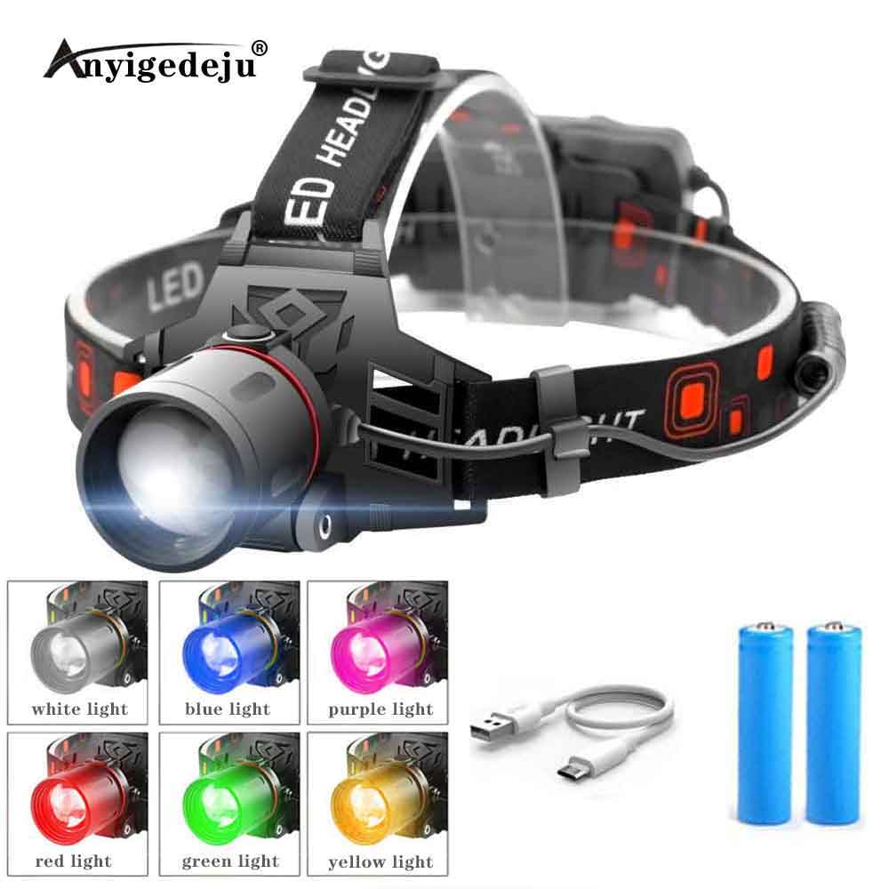 XML-T6 LED Headlamp 3-Mode Zoomable Headlight 18650 Battery Head Torch Green Fishing White Light Camping Red Hunting Flashlight 1
