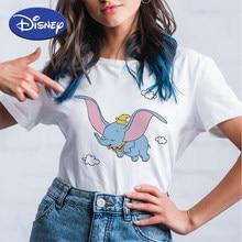 Camiseta de dibujos animados de Disney Dumbo para Mujer, Estilo Dulce Kawaii, camisetas de manga corta, camisetas de Mujer