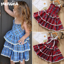 12m 5y baby girl ruffle fly sleeve linen dress new kids girls solid dresses button falbala princess party tops clothes vestido Melario Girls Dresses Spring Party Princess Dress Baby Girl Clothes Lolita Style Plaid Pattern Kids Dress for 1-5Y Girls Clothes