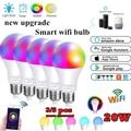 WiFi смарт-лампы E27 светодиодный светильник лампы LED лампа функция голосового Управление с цветовой моделью RGB + диммируемая на пульте управле...