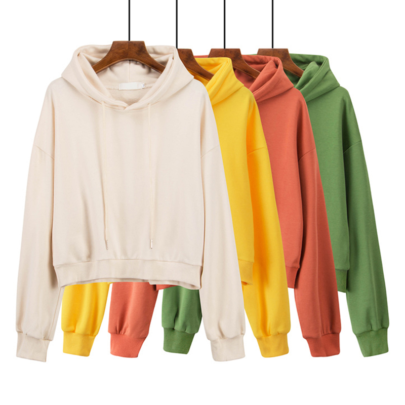 4 couleur unie recadrée sweat à capuche femmes 2019 automne nouveau coréen Chic Harajuku sweat jaune mince XS-L femmes sweat à capuche en vrac