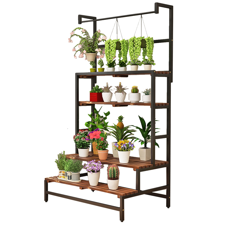 Art Chlorophytum Solid Wood Carbonization Green Luo Hanging Basket Meaty To Ground A Living Room Florist Exhibition Shelves