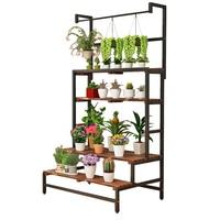 Art Chlorophytum Solid Wood Carbonization Green Luo Hanging Basket Meaty To Ground A Living Room Florist Exhibition Shelves