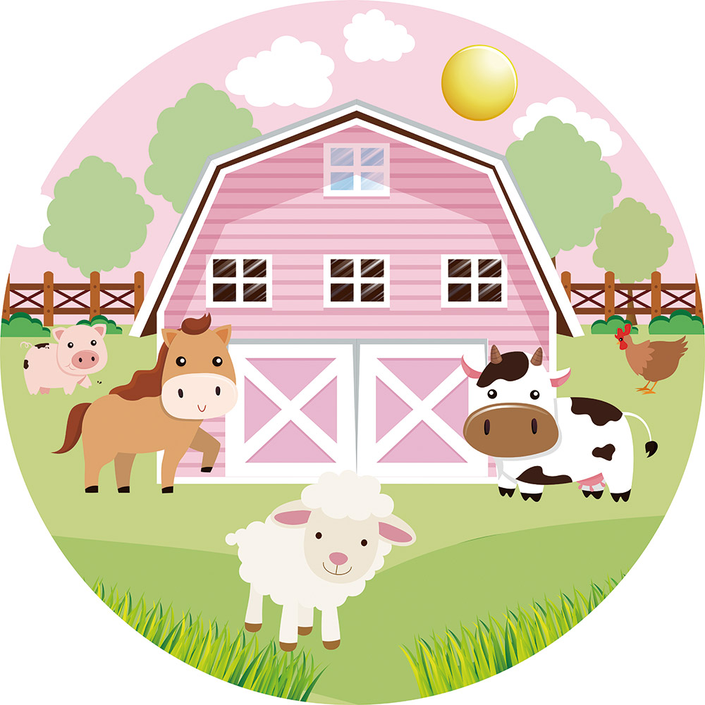 Pink Farm Animals Birthday Party Round Backdrop Cover Red House Cartoon Kids Baby Shower Circle Banner Photo Background Background Aliexpress