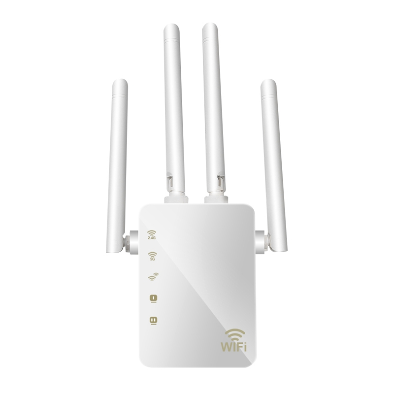 Wireless 2.4G / 5G Wifi Repeater Dual Band AC 1200Mbps 4 High Antennas Bridge Signal Amplifier Wired Router Wi-Fi Access EU Plug