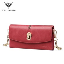 WilliamPolo Luxury Brand Leather Wallets Women Long Vintage Phone Bag Coin Purse