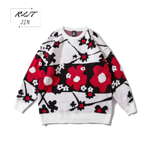 RLJT.JIN New High Quality Turtle Neck Mens Pullover Pull Homme 2019 Sweater Men Flower Embroidery Casual Fashion pullovers