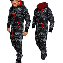 Jumpsuit One-Piece Men's New Print Sets Hooded-Fleece Camouflage-Print Personality