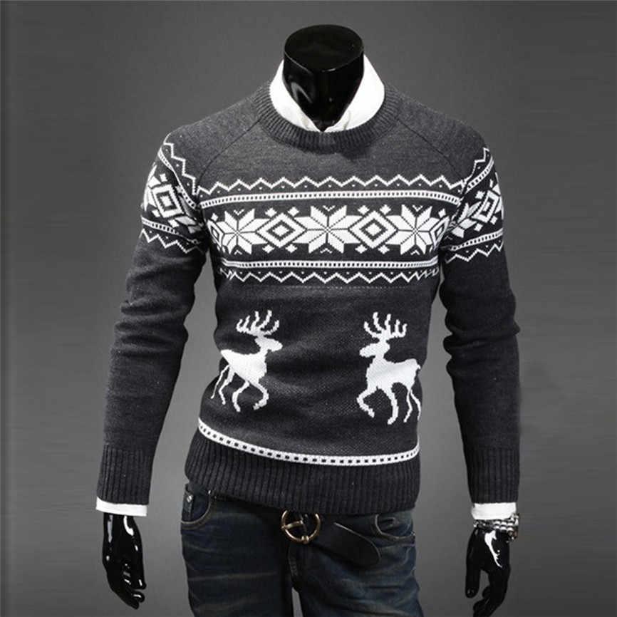 남성 인과 o 넥 스웨터 사슴 인쇄 가을 겨울 크리스마스 풀오버 니트 점퍼 스웨터 슬림 피트 남성 의류