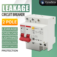 цена на AC type leakage circuit breaker AC220V 2p 32A63A 30mA anti-shock protector with lightning protection function Family protection