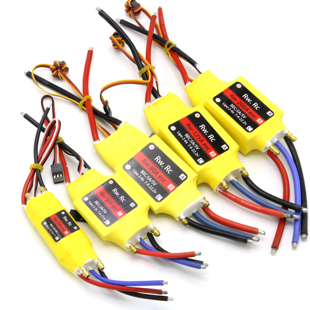 1pcs 2-6S 30A/50A/80A/100A/200A ESC 5V/3A 5V/5A UBEC Brushless Speed Controller ESC For RC Boat UBEC 200A/S