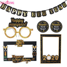Happy New Year 2020 Decoration Photo Booth Frame Gold Black Paper Garlands Photo Props 2020 Globos New Year Eve Party Supplies(China)