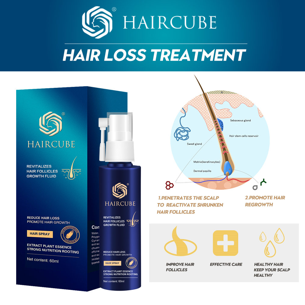 HAIRCUBE Anti Hair Loss Product Fast Hair Growth Essential Oil Spray For Help Men Women Hair Regeneration Repair Dense Hair Care