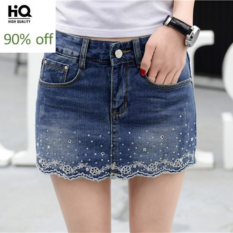 Women Summer Denim Shorts Skirts Embroidery Diamond Korean Plus Size Ladies Jeans Shorts Female Casual Fashion Blue Streetwear