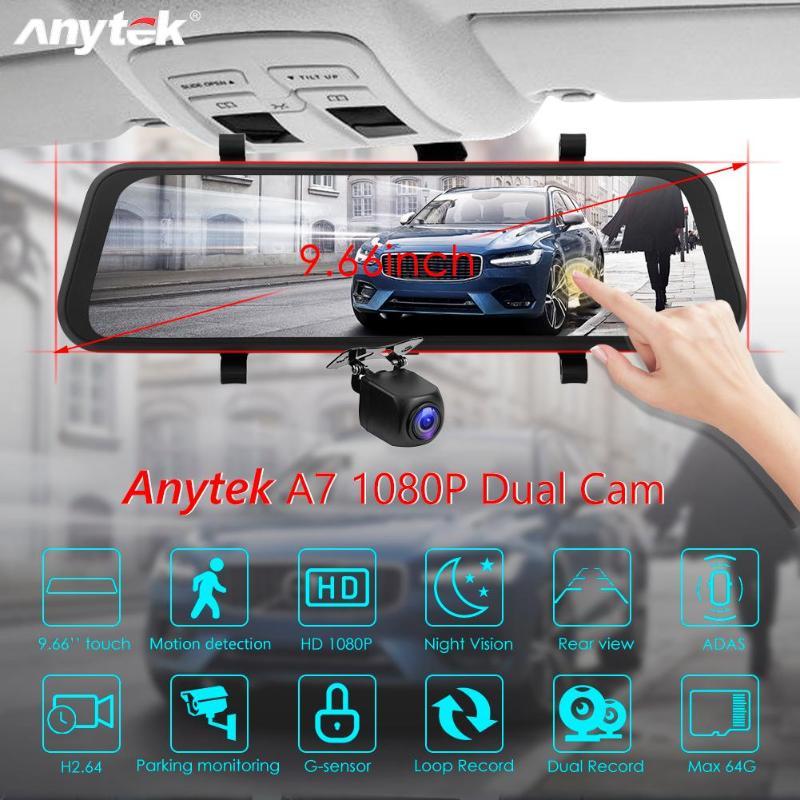 Anytek-caméra DVR voiture   9.66 inchA7 FHD1080P 16G, double objectif, ADAS Starlight, Vision nocturne, Dashcam carte rapide, lecture vitesse, écran tactile