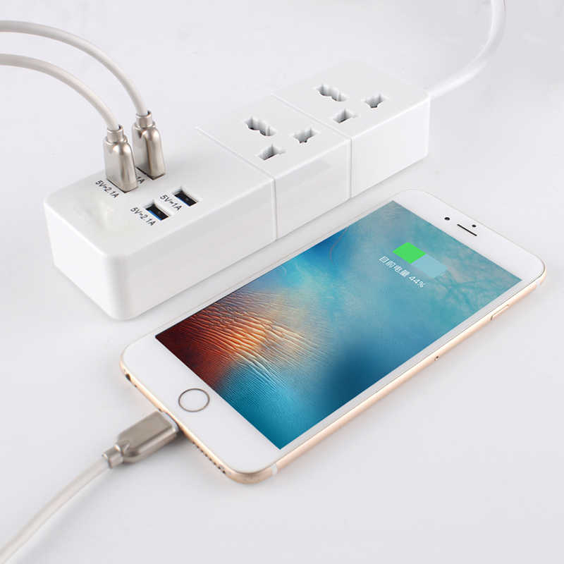 Inteligentny USB gniazdo listwy zasilającej ue/UK wtyczka zabezpieczenie przed przeciążeniem przełącznik ochrony przeciwprzepięciowej 2 Outlet 4 Port USB ładowarka-2 M przewód zasilający