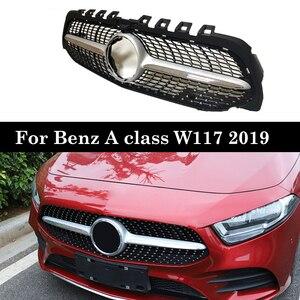 Image 1 - W177 Алмазная решетка переднего бампера гоночный автомобиль Стайлинг для Mercedes A200 спортивный седан передний гриль 2019