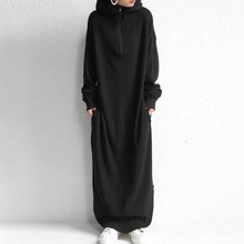 Hoodies Maxi Dress Sweatshirt Korean 2019 Autumn Winter Women Sweatshirts Long Sleeve Hoody Pullovers Robe