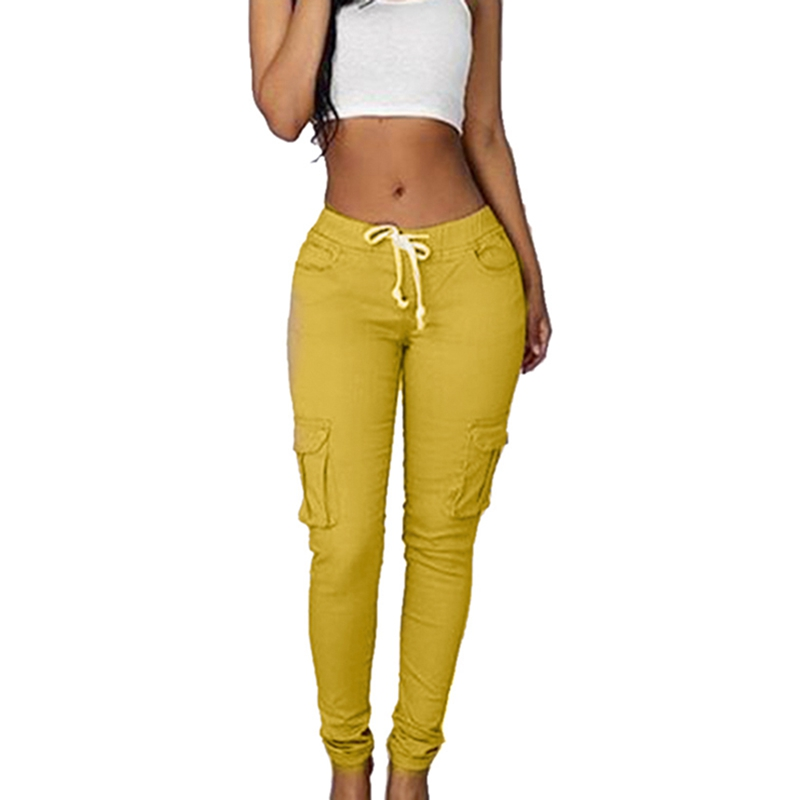 High Quality 2019 Spring Lace Up Waist Casual Women Pants Solid Pencil Pants Multi-Pockets Plus Size Straight Slim Fit Trousers