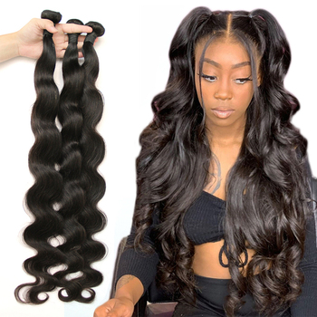 Peruvian Hair 3 Bundles With Closure Body Wave Natural Human Hair Bundles with Bigger Closure 5x5 6x6 Fashow Thick Hair Weaves image