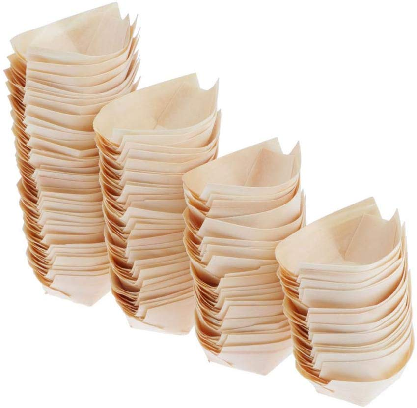Promotion - Party Wedding Supplies, 130mm Disposable Sushi/Salad/Dessert Bowl Pine Wood Boat, 50/Pack