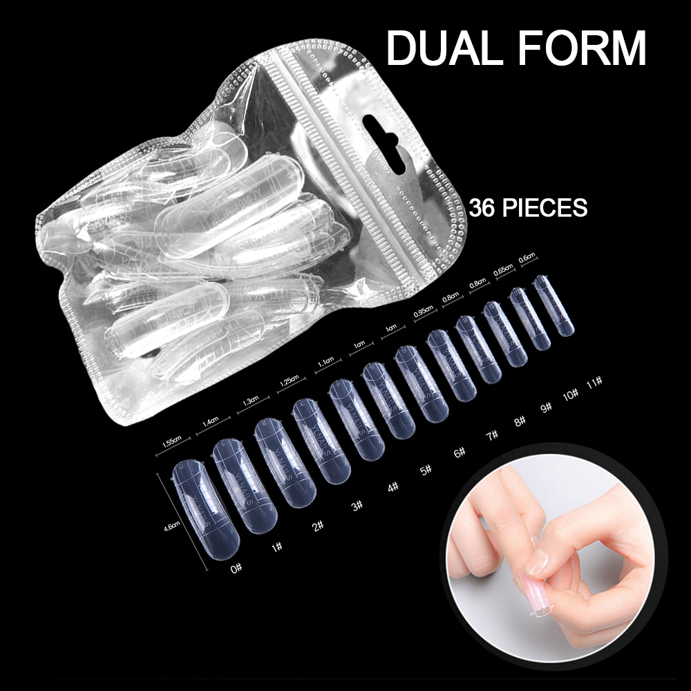 MIZHSE 36 Pcs Clear Nail Forms Full Cover Quick Building Gel Mold Tips Nail Extension DIY Nails Accessoires Manicure Tools