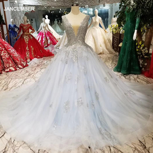 Image 1 - HTL057 beaed prom dress with train v neck sleeveless lace up v back ball gown party formal dress 2020 vestido de festa longo